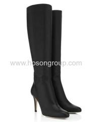 Black pointed toe stiletto heel boots