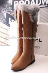 Fashion brown zipper low heel boots