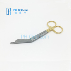 Lister Bandage Scissors TC Gold Plating 140mm Orthopedic Instrument General Instrument for Veterinary