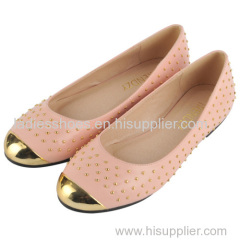 brand new design of lady flat shoe with created flower decoration and shiny outsole