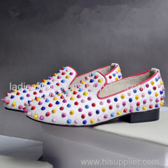 flat fashion ladies wholesale comfortable shoes with colorful studs