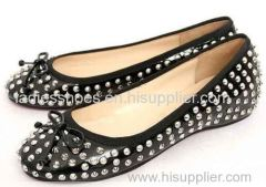 black color fashion flat ladies dress shoe with studs and bowtie