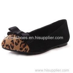 hot selling pu suede and leopard print ponyhair women flat dress shoes with bowtie