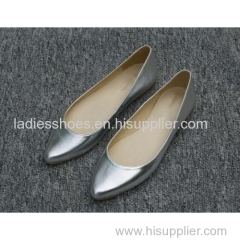 new design patent leather women fashion flat silver dress shoes