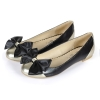 fashion bowtie flat women dress shoes with patch gold and black color
