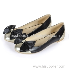 latest bowtie flat women dress shoes with patch gold and black color