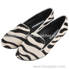 fashion striped black and white color women flat dress shoes