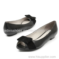 oem design black color peep toe women flat fashion dress shoes with bowtie