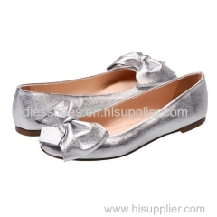 fashion glittering silver color women flat dress shoes with bowtie