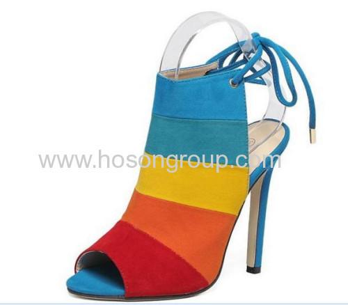 Lace up peep toe ladies high heel sandals