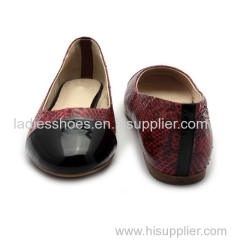 hgih quality black leather round toe flat women dress shoes with snake pattern