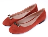 new style PU suede orange flat wommen dress shoes with metal bowtie
