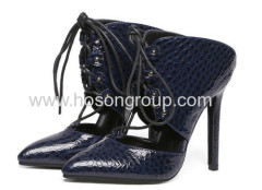 Ladies stone texture lace up high heel shoes