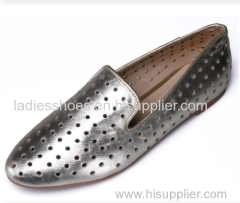 wholesale silver color pointed toe flat women dress shoes with eyelets