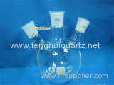 Transparent Quartz Glass or Borosilicate Glass Flask with Three Necks