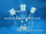 Transparent Quartz Glass or Borosilicate Glass Flask with Three Necks