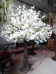 Indoor white artificial silk cherry blossom tree for decoration