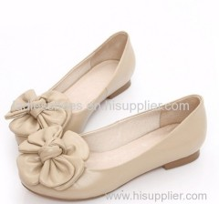 Fashion Beige Color women flat dress shoes with big flower