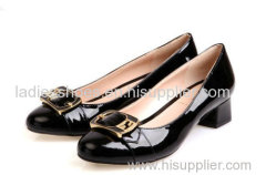 Patent leather black color fahsion flat women dress shoes with sequined