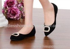 Good Quality black color pointed toe women flat fashion dress shoes