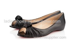Fashion Design knot peep toe black women flat dress shoes