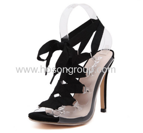 Ladies PVC upper high heel sandals