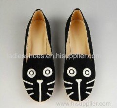 Foreign trade flat shoes embroidered cat printing casual dress shoe
