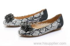pu suede and leather upper ladies dress shoes with flower decorated