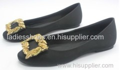 black pu suede women flat dress shoe with gold color sequined