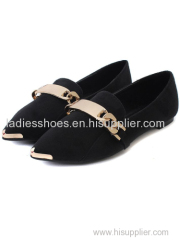 OEM Design Black PU suede women flat dress shoes with sequined