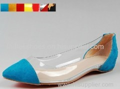 good quality blue color PU suede women flat dress shoes