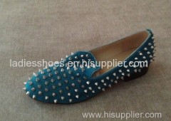 new style blue color pointed toe fahsion women flat dress shoe with studs