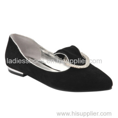 latest black color PU suede pointed toe pull on women dress shoes with sequined