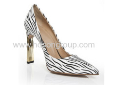 Fahion zebra stripe pointy toe high heel shoes