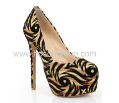 New style striped ladies high heel party shoes