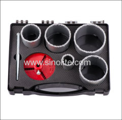 7pcs Tungsten Carbide Grit Hole Saw Set 33-53-67-73-83mm locating plate 33-83mm pilot drill 10x135mm