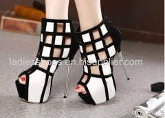 high heel peep toe patch color dress women sandles with zipper