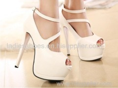 high heel peep toe platform strap ankle women dress shoes