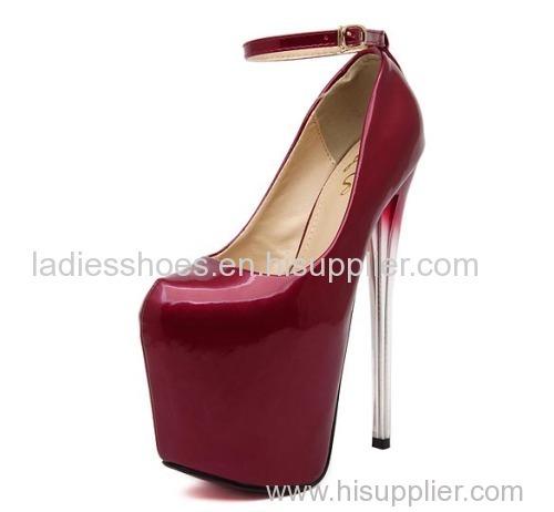 wine red gradient heel ankle strap high heel women pumps