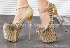 shining gold color women dress ankle sandle with sequined and gradient heel