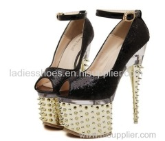 women ankle sandle with studs in the platform and heel