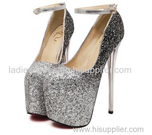 gradient glitting shining platform high heel women ankle dress sandles