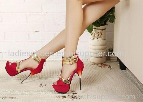 red color peep toe T-strap high heel women dress sandles with gradient heel