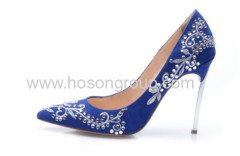 Rhinestone floral ladies high heel dress shoes