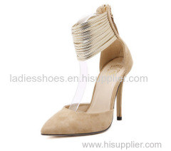 PU suede women high heel fashion dress sandals