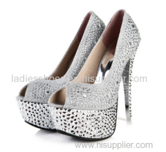 latest style shining glitting ladies platform peep toe high heel women dress sandals