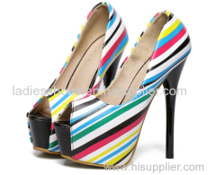 colorful leather peep toe platform ladies hgih heel dress sandles comfortable pumps