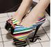 colorful leather peep toe platform ladies hgih heel dress sandles comfortable pumps