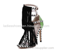 customed design T-strap women buckle high heel shoe with tassels