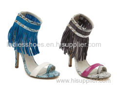 latest ladies fashion high heel snake pattern dress sandles with tassels